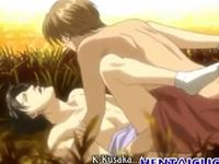 和服の美青年BL!野外でアナル内射精するゲイアニメ